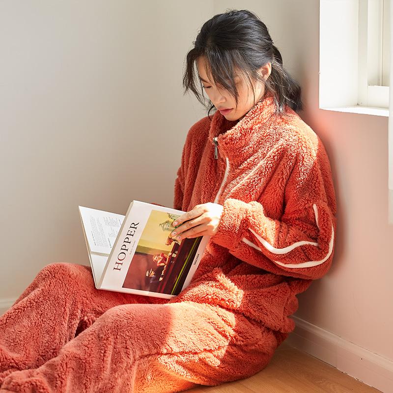 睡衣女秋冬季珊瑚绒加厚加绒保暖韩版法兰绒家居服两件套可出门