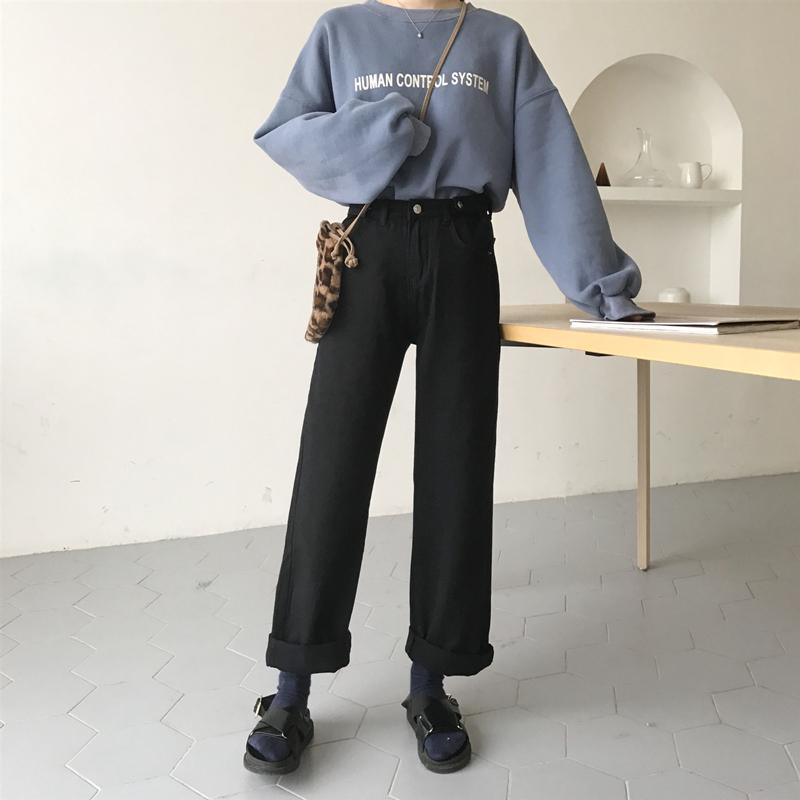 高腰牛仔阔腿裤女宽松显瘦垂感春装2020新款复古直筒泫雅老爹裤子