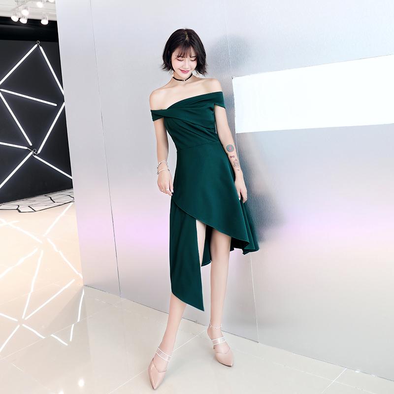 小晚礼服女宴会气质绿色伴娘平时可穿生日派对高端名媛高贵连衣裙