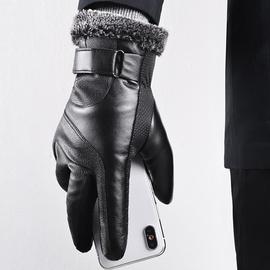 皮手套男士冬季保暖骑行防寒加绒加厚防风防水触屏骑车摩托车手套