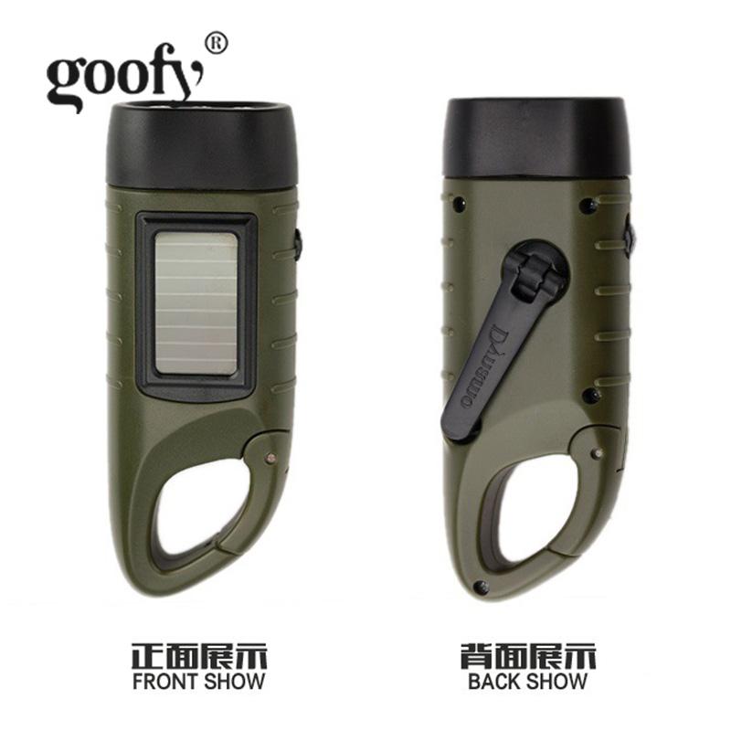 家用照明灯军迷用品 led 户外手摇发电手电筒太阳能充电多功能 Goofy