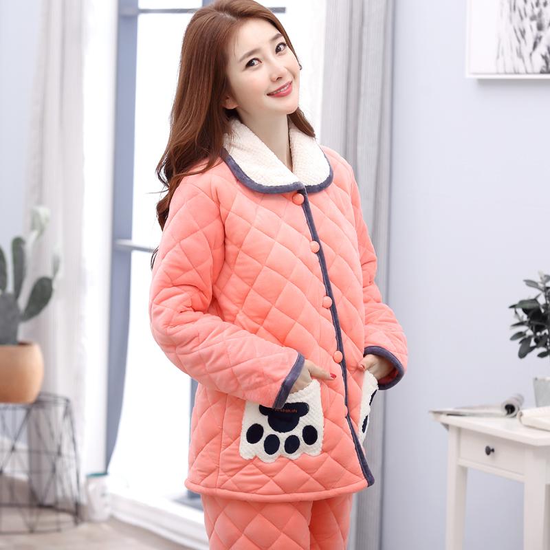 【天天特价】睡衣女冬季珊瑚绒加厚加绒三层夹棉保暖法兰绒家居服