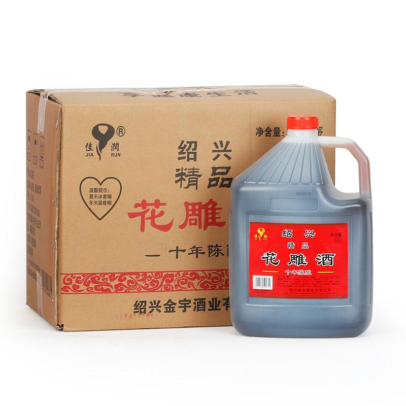 桶装米酒制阿胶固元膏料酒 5Lx4 绍兴佳润黄酒十年陈花雕酒整箱