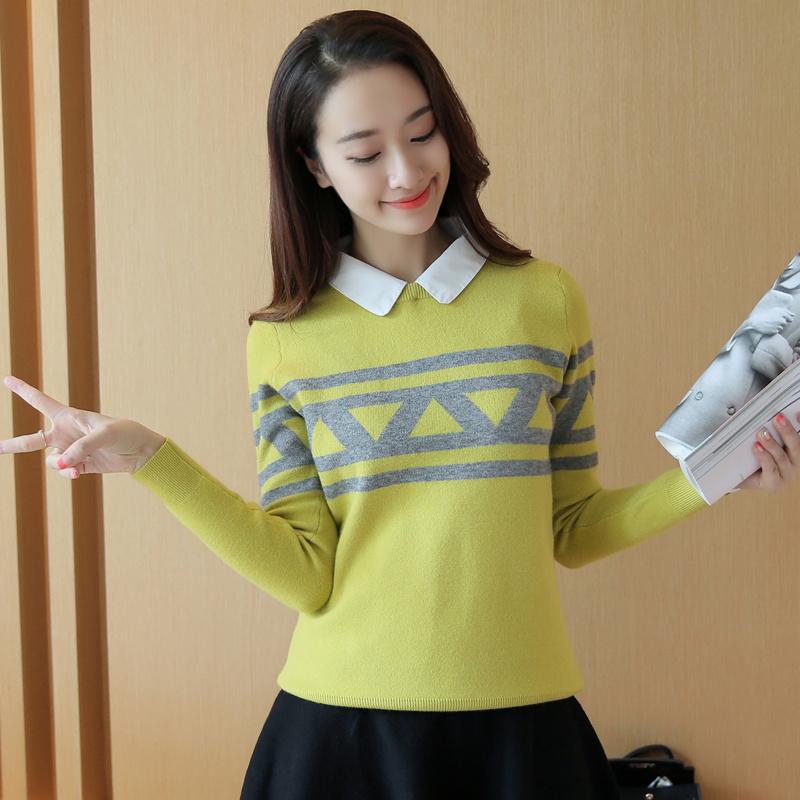 秋装新款韩版可拆衬衫领毛衣女假两件学院风针织衫长袖打底衫外套