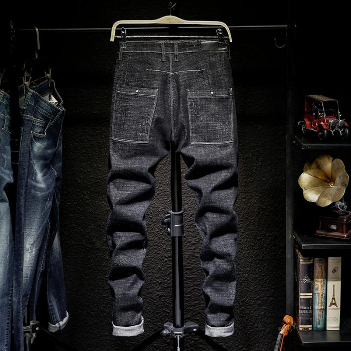 高端男士弹力牛仔裤韩版修身小脚裤斜口袋潮牌水洗复古牛仔长裤潮