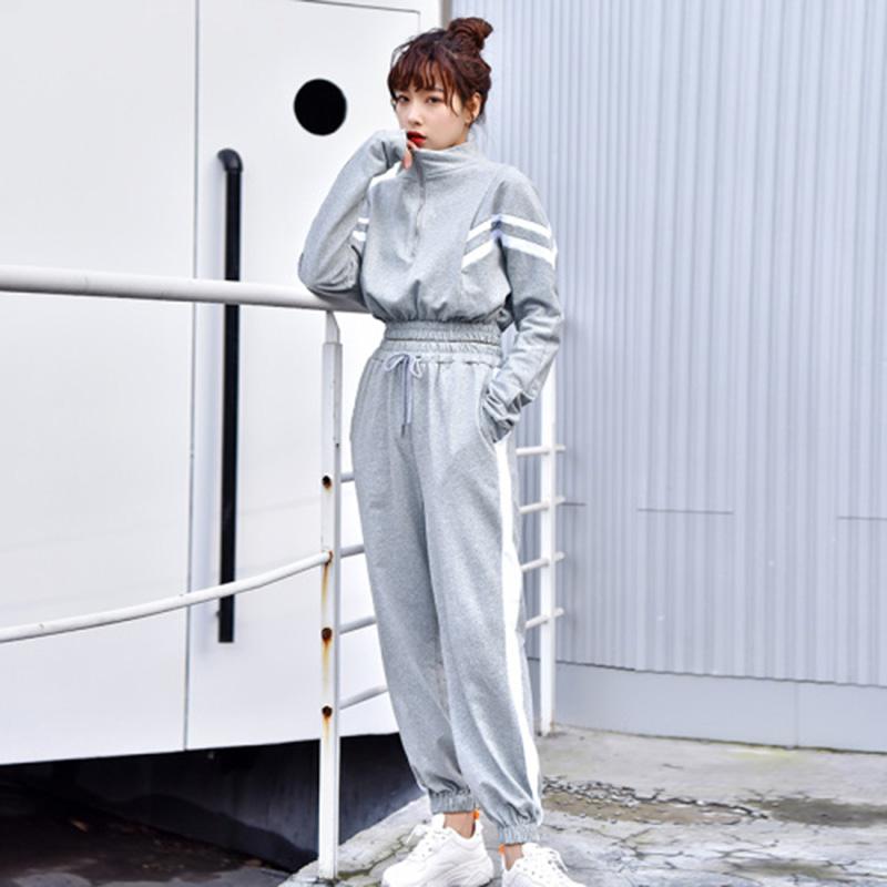 束脚长裤运动套装女 初中高中学生少女春秋韩版时尚休闲短款卫衣