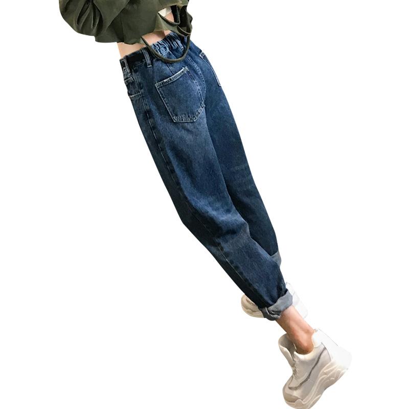 牛仔裤女宽松高腰2019秋装新款九分直筒裤子薄款老爹裤显瘦哈伦裤