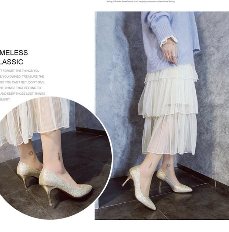 礼服细跟高跟鞋女中跟3-5-7cm宴会单鞋学生银色伴娘婚纱年会演出