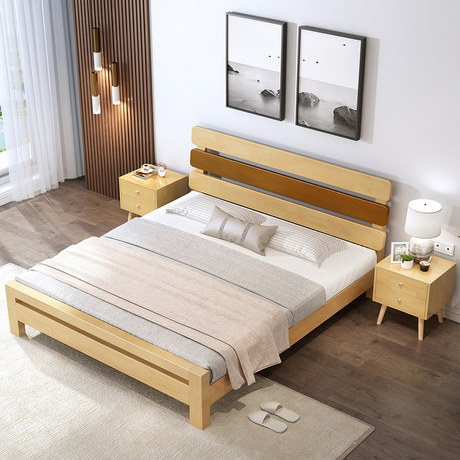 Solid Wood Bed Master Bedroom Large Bed Modern Minimalist 1 8 Meters Double Bed Marriage Bed 1 5 Single Bed Japanese Oak Nordic Bed,Light Medium Chocolate Brown Hair Color