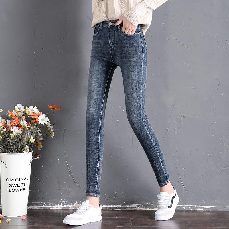 加绒牛仔裤女2019新款韩版显瘦高腰外穿小脚裤加厚九分带绒长裤冬