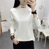 Women take the tight long-sleeved shirt in the Spring and Autumn new Korean high-necked t-shirt embroidery small letter body repair clothes
