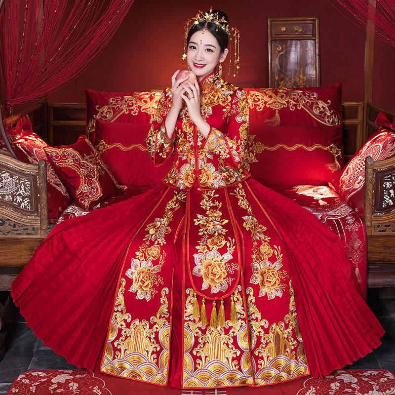 禾服抖音同款2018春新款烫钻龙凤褂结婚中式婚纱礼服嫁衣出阁服