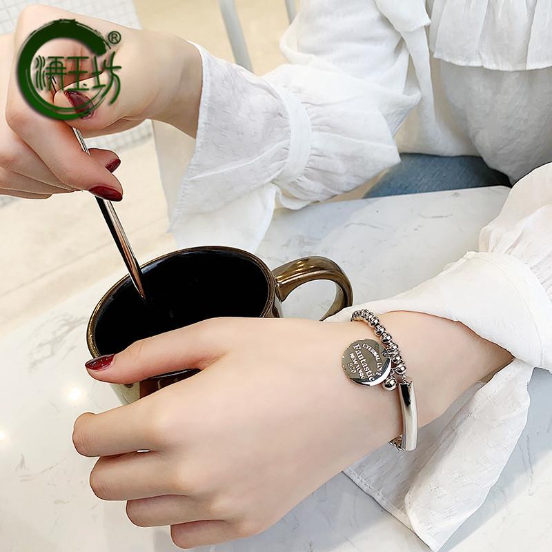 玉坊 新款时尚气质百搭手链女经典流行首饰韩版钛钢手环饰品  2019
