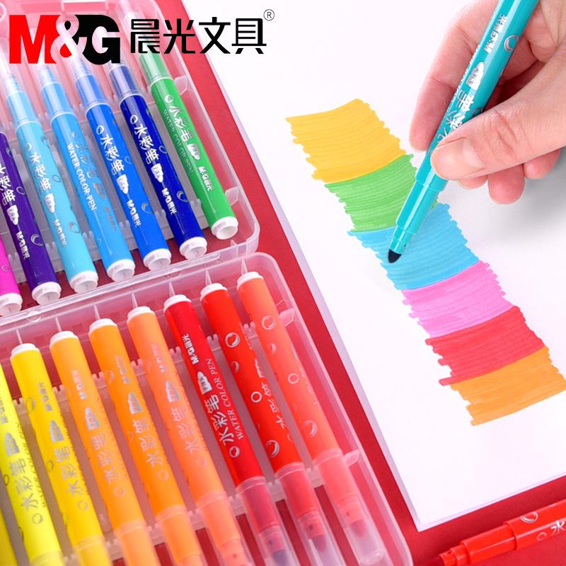 晨光水彩笔套装36色儿童幼儿园彩色画笔24色小学生用绘画笔可水洗无毒大容量宝宝初学者手绘小孩彩笔