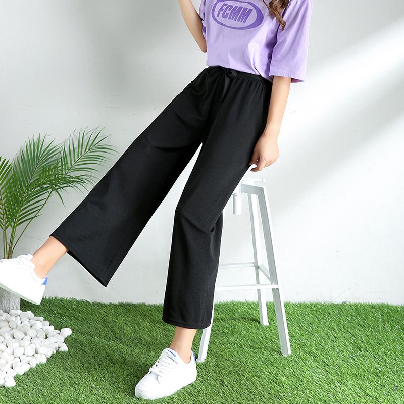 女裤2019新款八九分阔腿裤女薄款黑色垂感宽松高腰裤子