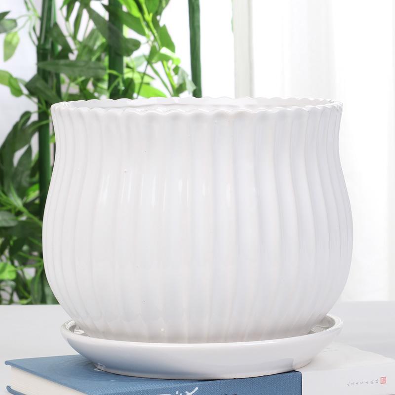 白色陶瓷花盆塑料特大号室内简约个性带托盘绿萝吊兰多肉花盆特价