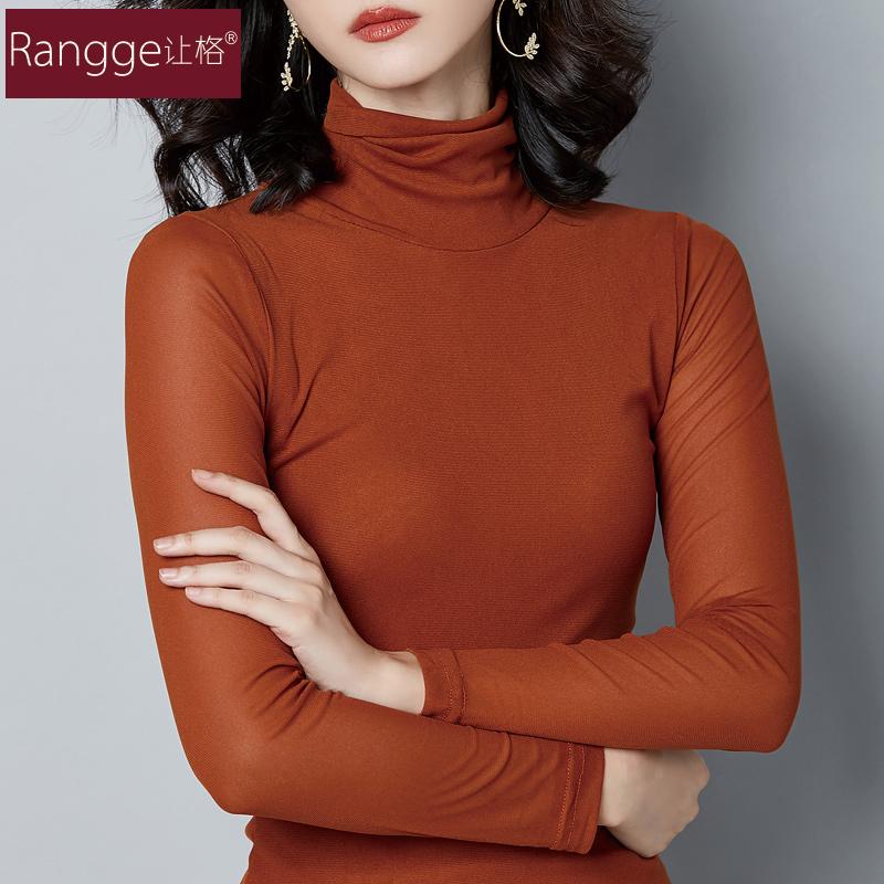 高领网纱加绒打底衫女长袖修身简约百搭秋冬小衫内搭薄款纯色 恤  T