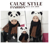 Parent-child autumn and winter children's scarf gloves hat three-piece plush suit one thick scarf female long section