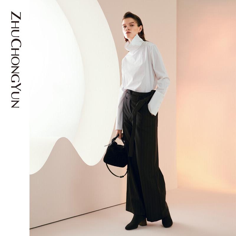 ZHUCHONGYUN朱崇恽2019冬新款原创设计女装压纹印花半裙