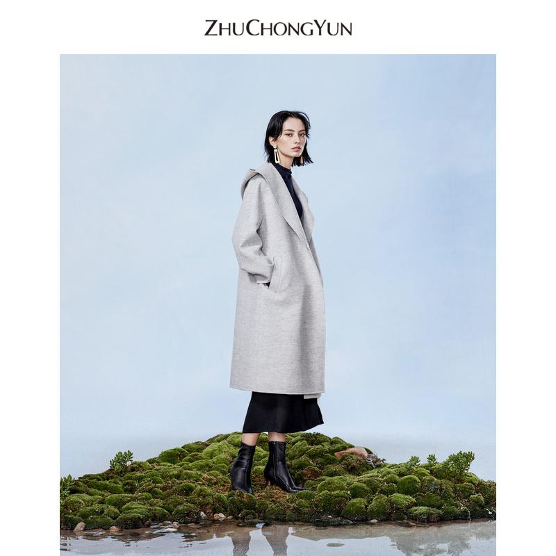 ZHUCHONGYUN朱崇恽2019冬新款原创设计女装连帽绑带大衣