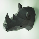 New 2019 new products DIY creative sculpture 3D paper mold rhino wall hanging paper decoration decorative model