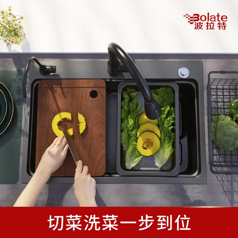 不锈钢大洗碗槽水池加厚一体式洗菜盆套装 304 黑水槽单槽厨房纳米