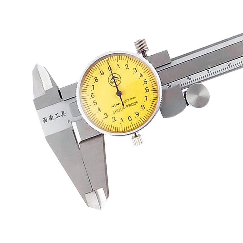 西南带表卡尺0-150 高精度不锈钢0-300工业级代表游标卡尺0-200mm