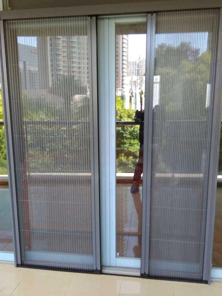 高档无轨隐形折叠纱门 定做纱窗铝合金风琴式推拉防蚊纱可拆洗