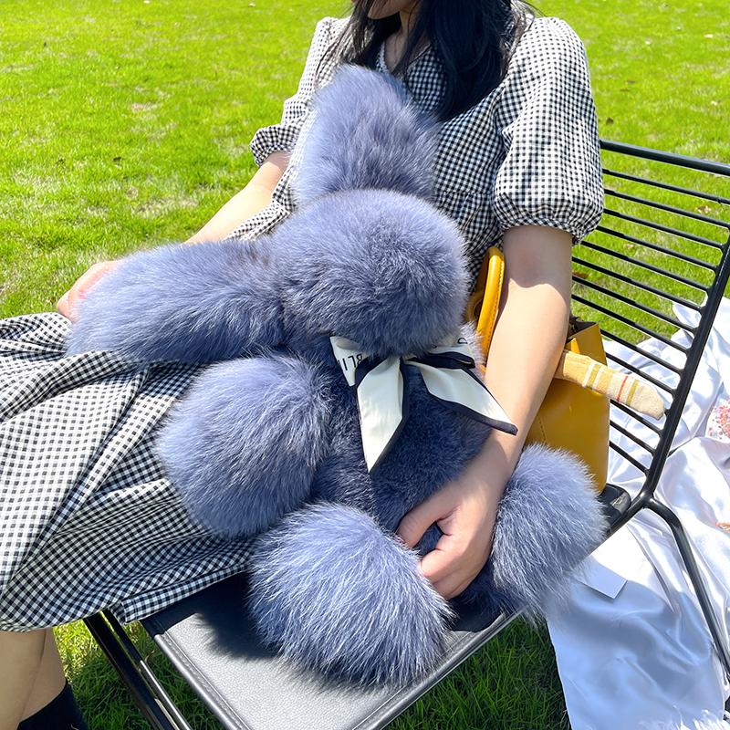 定制色进口整皮狐狸毛可爱毛绒皮草小兔子公仔送女友礼物创意玩偶