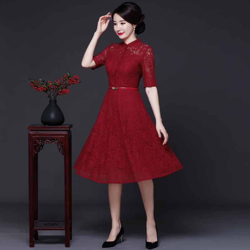中年女妈妈改良版旗袍连衣裙中国风秋装2019年新款喜婆婆旗袍礼服