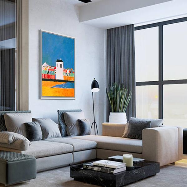 高檔現代餐廳裝飾畫飯廳掛畫 客廳抽象油畫 馬列維奇-白屋風景