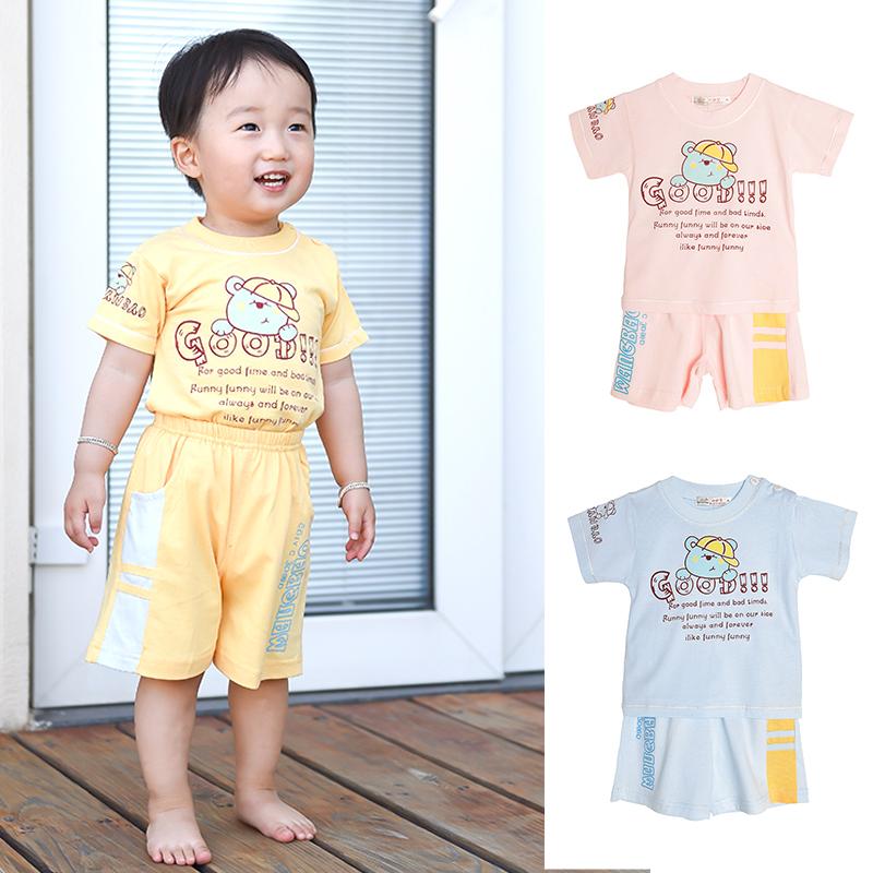 小甜宝2018夏装新品男女童短t恤短裤两件套婴儿衣服宝宝纯棉套装