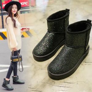 韩版潮加绒加厚亮片短靴