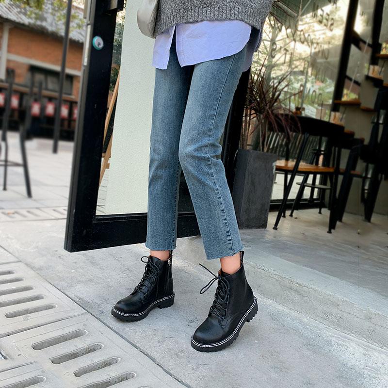 马丁靴女秋冬季加绒潮ins网红英伦风平底短靴2019新款百搭瘦瘦靴