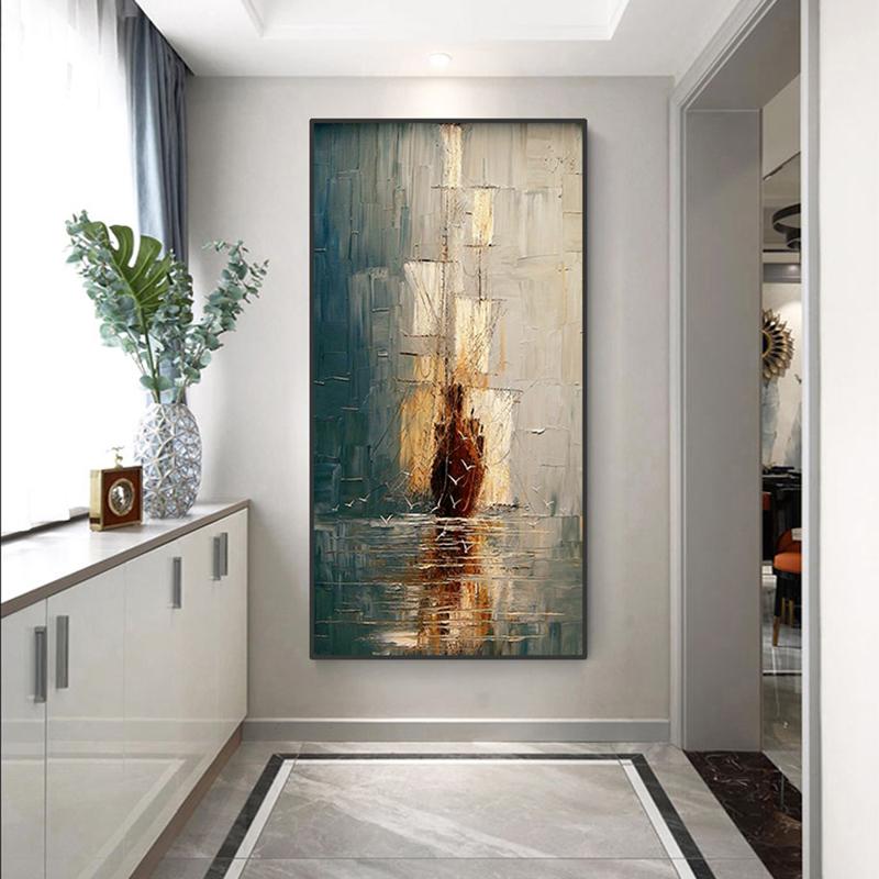 手繪抽象油畫 玄關走道裝飾畫 現代簡約北歐大海帆船豎版輕奢掛畫