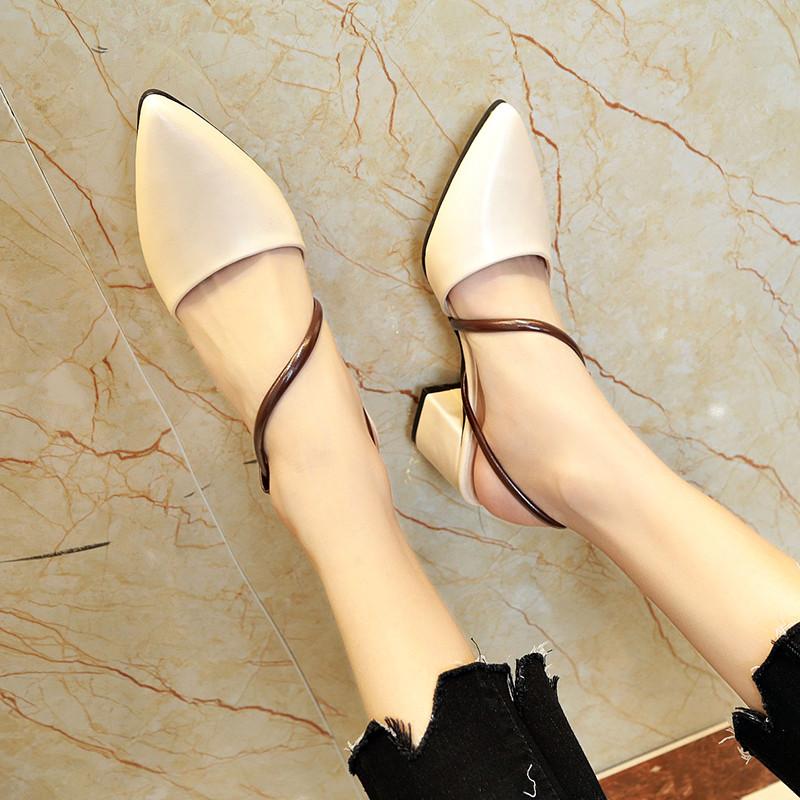 凉鞋女夏尖头时尚高跟一字带包头粗跟女鞋2020新款舒适外穿学生鞋