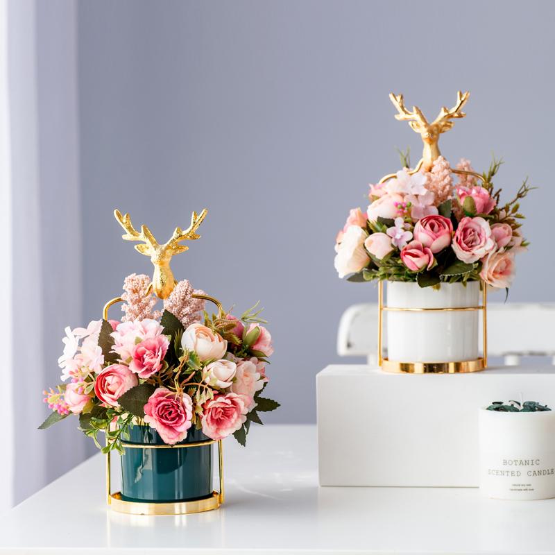 轻奢餐桌花茶几康乃馨花艺盆栽仿真花摆件假花客厅装饰桌面摆设花