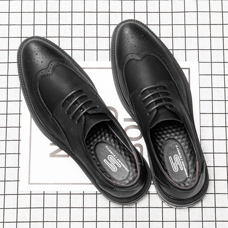 男鞋春季商務正裝英倫結婚布洛克雕花韓版潮流休閑百搭男士皮鞋男