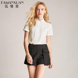 法曼萱粉色衬衫女短袖时尚宽松雪纺衬衣2020春季新款百搭方领上衣