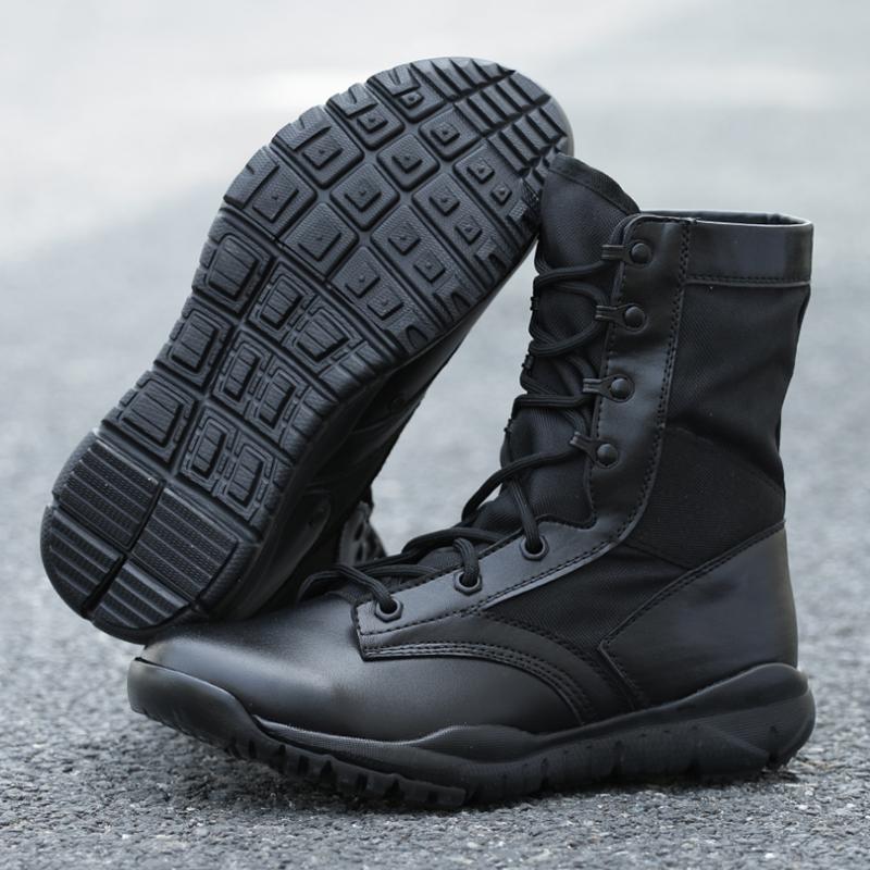 军靴男特种兵作战靴户外夏季轻便透气黑色高帮陆战靴沙漠靴作训鞋