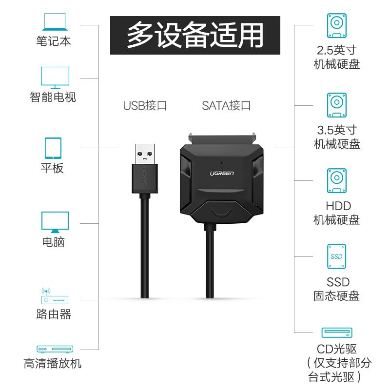 绿联usb3.0转sata硬盘易驱线转接线外置接口2.5/3.5英寸台式机笔记本电脑主机转换光驱机械SSD固态硬盘读取器