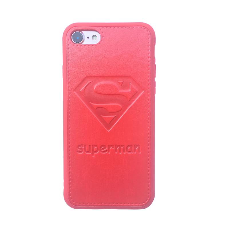 情侣超人标志iphone7plus手机壳6s全包皮软胶i8皮质保护套6p防摔
