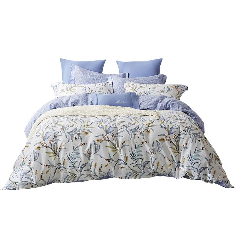 梦洁家纺四件套全棉纯棉小清新床上用品三件套单人床夏季床单被套