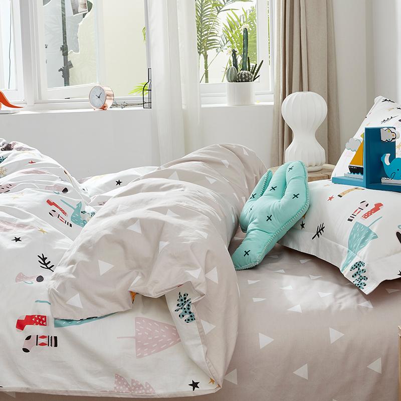 米床單被套 1.5 四件套全棉純棉套件床上用品三件套 ins 夢潔家紡新品