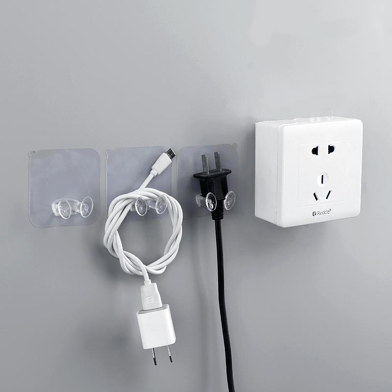 厨房无痕强力粘胶电源插头线挂钩电器电线插头收纳挂粘钩创意挂架