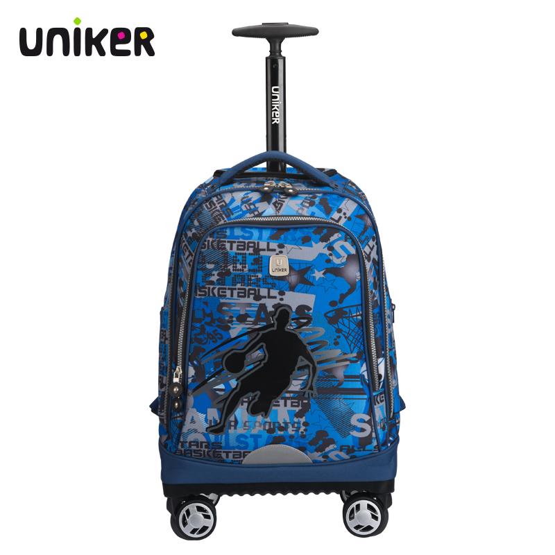 拉杆包万向轮书包双肩背包初高中学生书包男女旅行拉杆背包 uniker