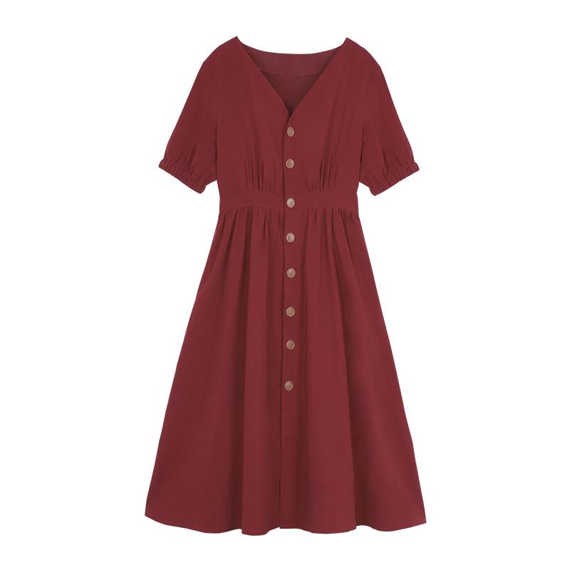 2019夏季新款复古V领单排扣收腰中长款很仙的法国小众连衣裙大摆