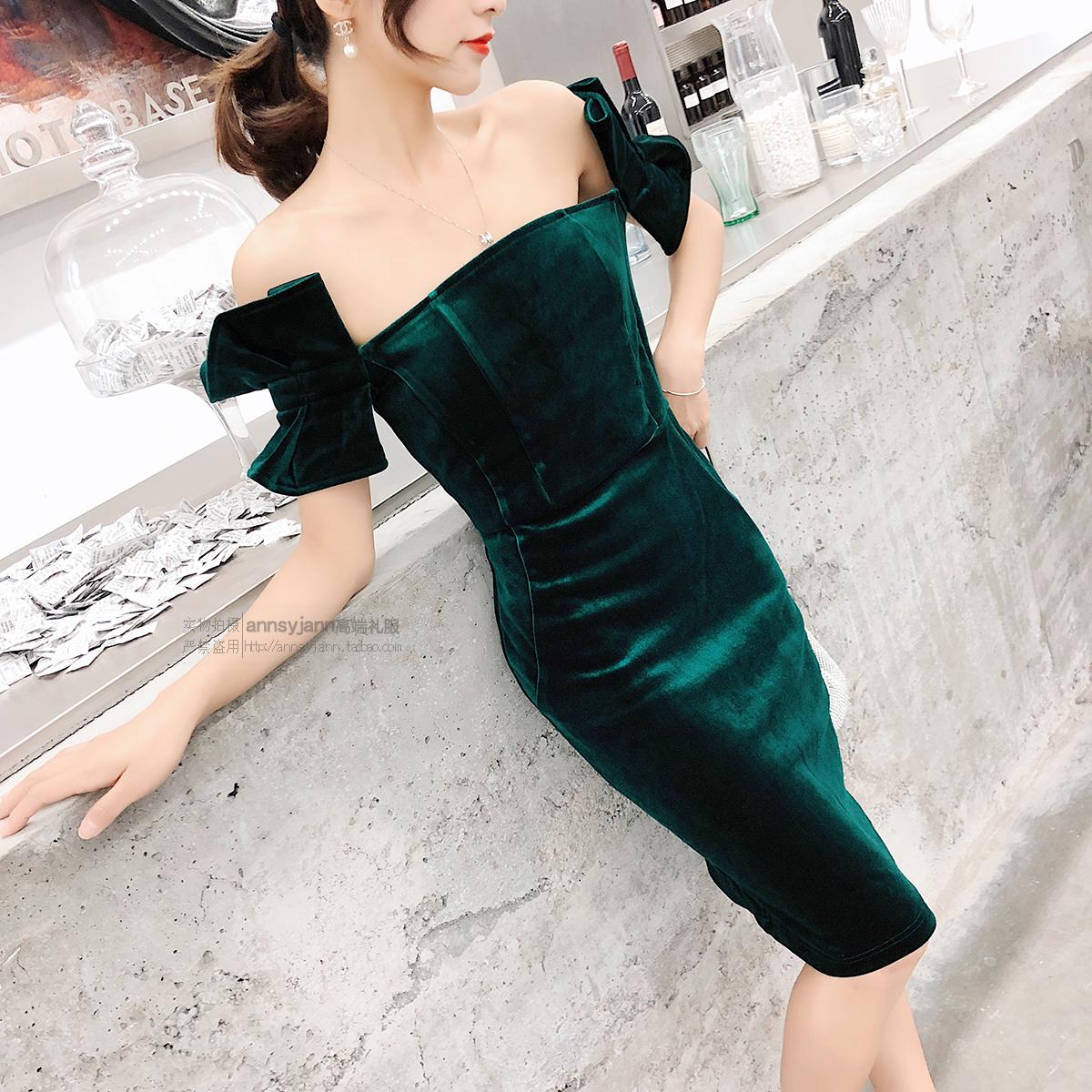 一字肩优雅显瘦复古绿丝绒连衣裙名媛聚会宴会晚礼服裙女气质年会