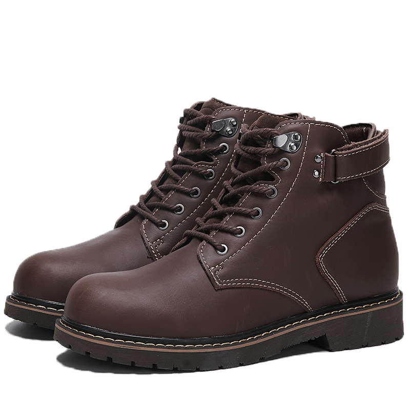 军靴男作战靴真皮中帮战术靴特种兵靴户外鞋厚底圆头登山鞋马丁靴
