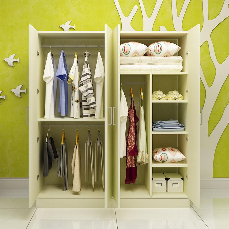 简约现代卡通儿童房衣柜双门男孩女孩卧室公主实木质衣橱经济型